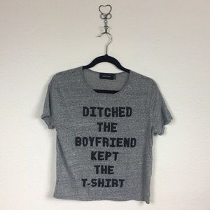 MINKPINK Ditched the Boyfriend Tee Gray Size S